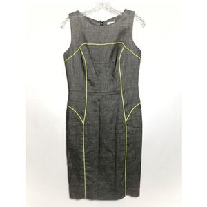 Milly Career tailored dress w neon trim zip back 4